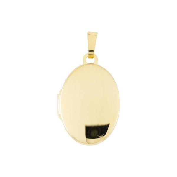 Gouden medaillon - ovaal - glad - 14 x 21 mm