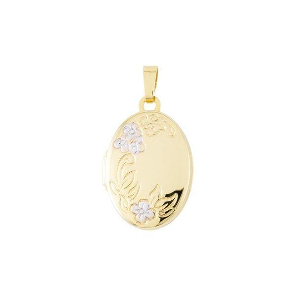 Gouden medaillon - ovaal - bicolor - 14 x 26 mm