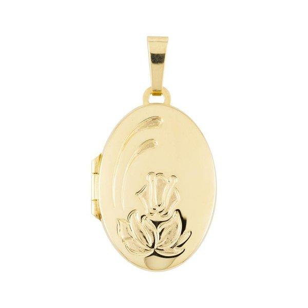 Gouden medaillon - ovaal - bloemmotief - 17 x 33mm