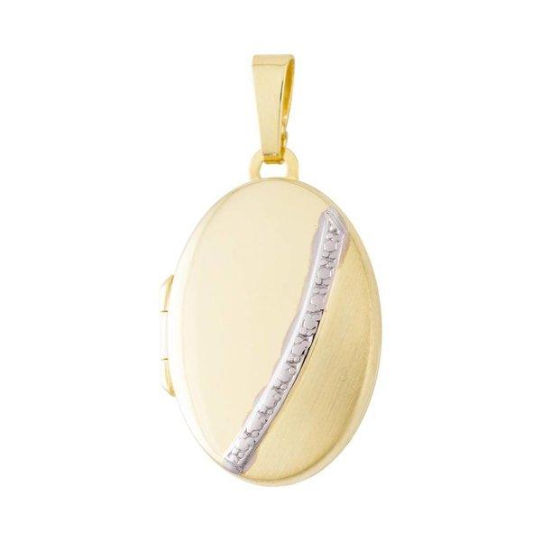 Gouden medaillon - ovaal - bicolor - 17 x 33 mm