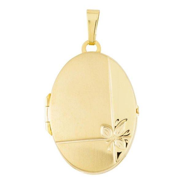 Gouden medaillon - ovaal - mat/poli - 21 x 38 mm