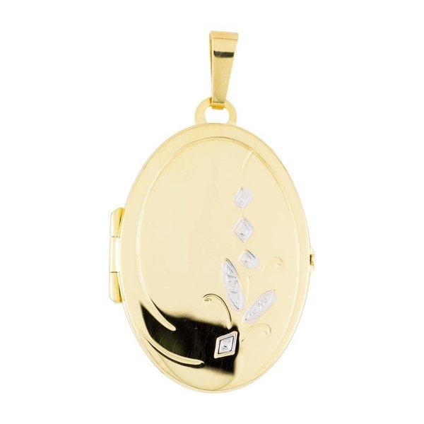 Gouden medaillon - ovaal - bicolor - 21 x 38 mm