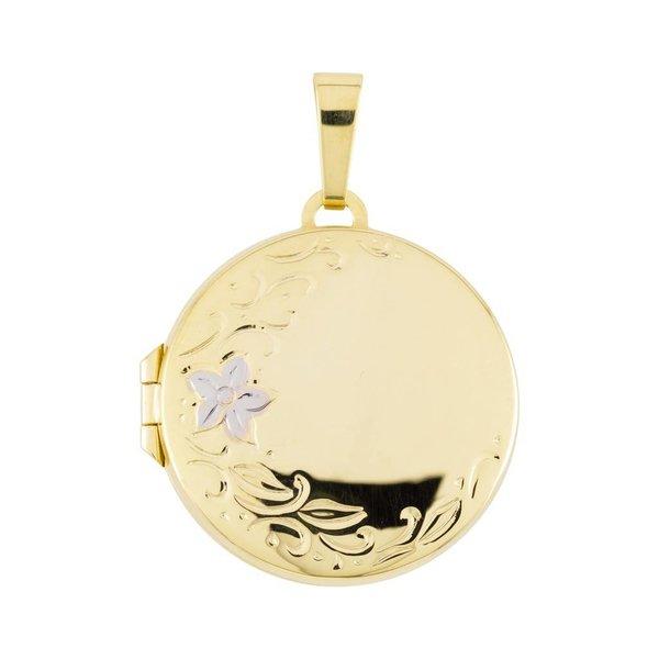 Gouden medaillon - rond - bicolor - 22 x 22 mm