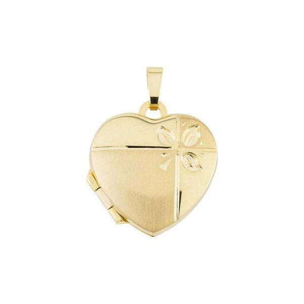 Gouden medaillon - hart - mat/poli - 18 x 24 mm