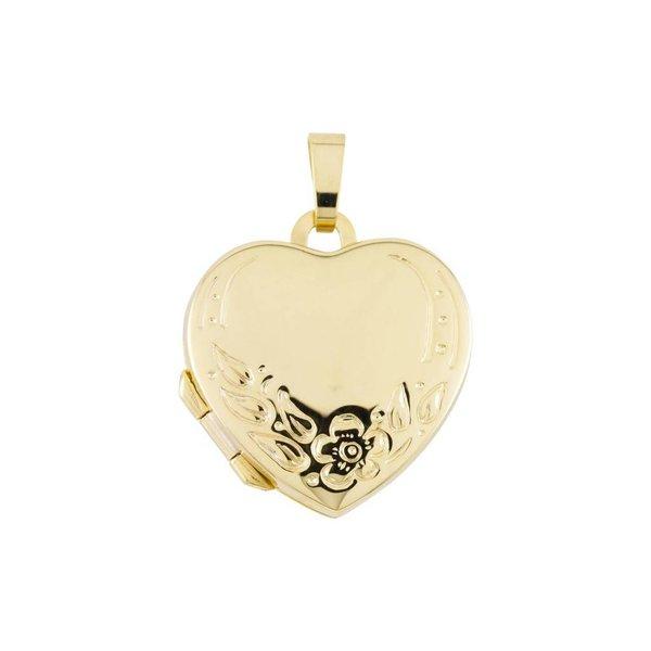 Gouden medaillon - hart - bloemmotief - 18 x 19 mm