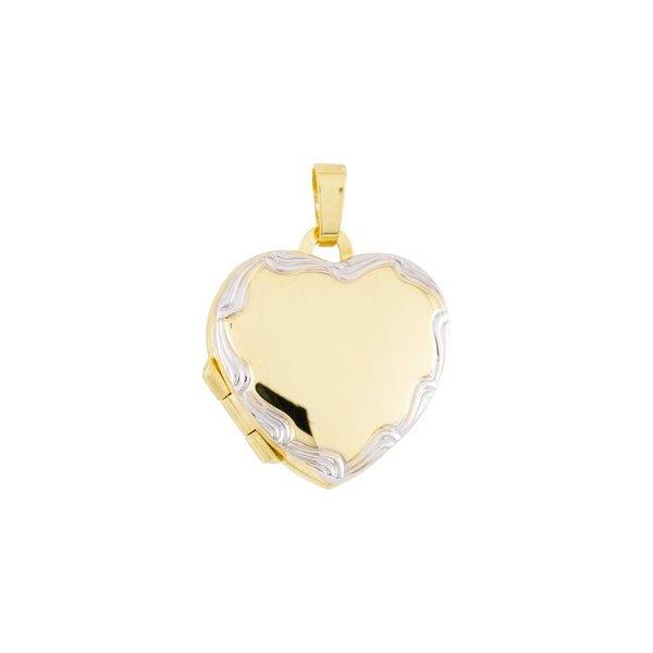 Gouden medaillon - hart - bicolor - 18 x 19 mm