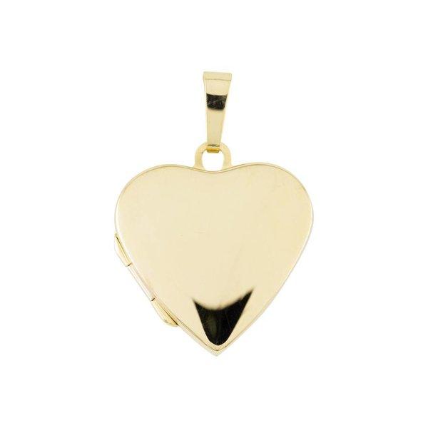 Gouden medaillon - hart - glad - 20 x 23 mm