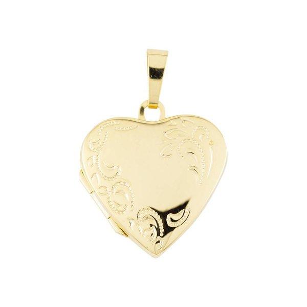 Gouden medaillon - hart - bloemmotief - 20 x 29 mm