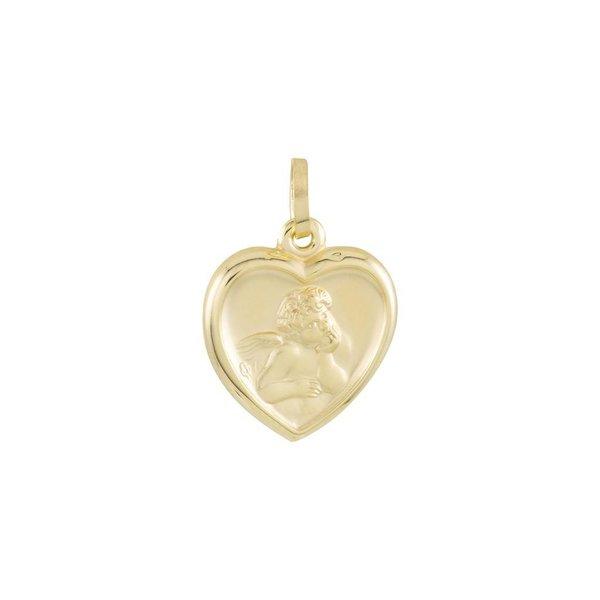 Gouden christoffel - 21 x 14 mm - cupido - hart