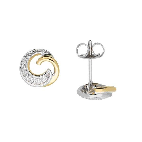 Gouden oorknoppen - bicolor - zirkonia - rond