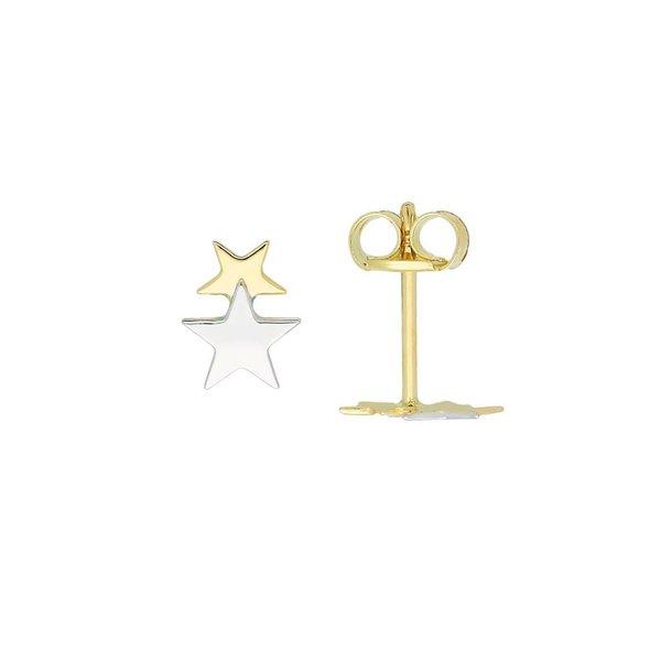 Gouden kinderoorknopjes - bicolor ster - glanzend