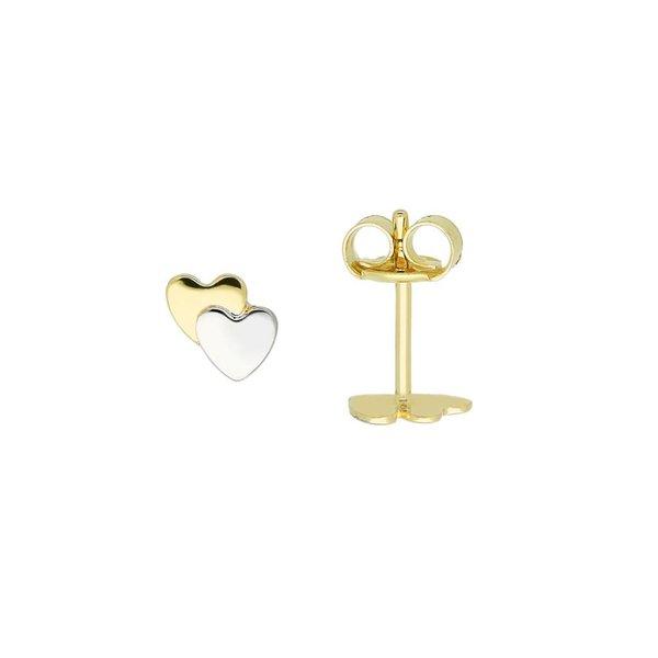 Gouden kinderoorknopjes - bicolor dubbel hart