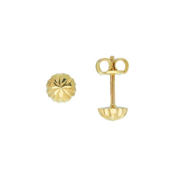Gouden oorknopjes - 5.0 mm - gediamanteerd