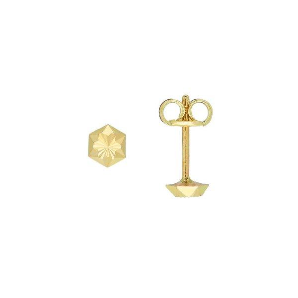 Gouden oorknopjes - 4.0 mm - gediamanteerd