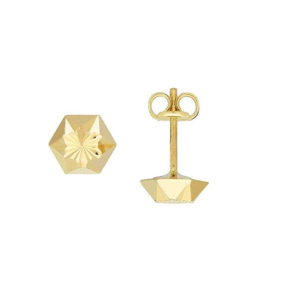 Gouden oorknopjes - 6.0 mm - gediamanteerd