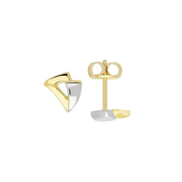 Gouden oorknopjes - glanzend - driehoek