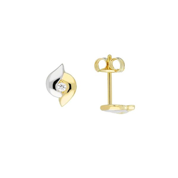 Gouden oorknopjes - zirkonia - glanzend - rond