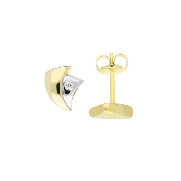 Gouden oorknopjes - zirkonia - glanzend - driehoek