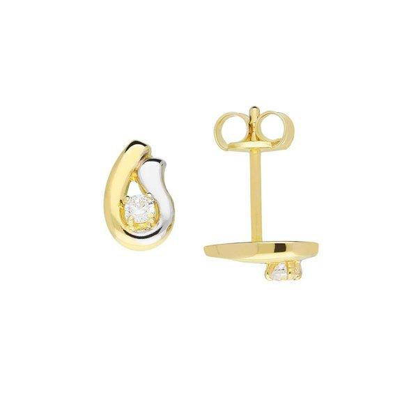 Gouden oorknopjes - zirkonia - glanzend - u-vorm