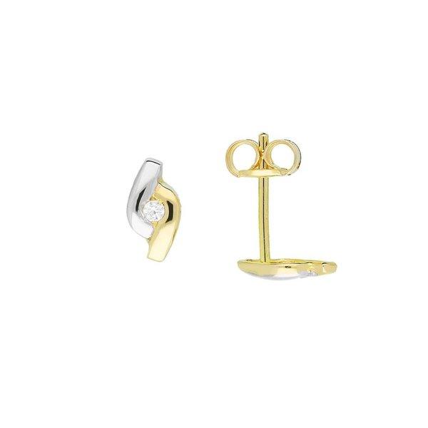 Gouden oorknopjes - zirkonia - glanzend - fantasie
