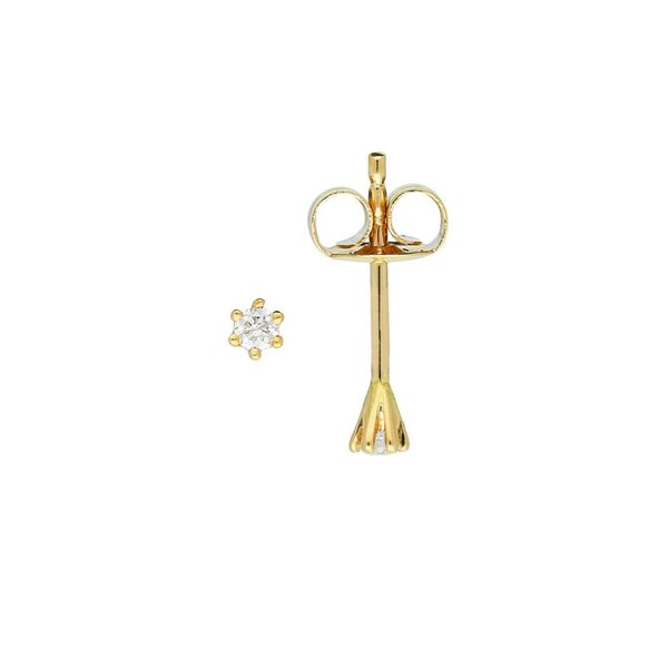 Gouden solitair oorknoppen - diamant -2- 0.06ct