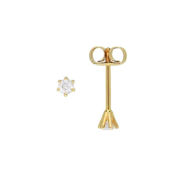 Gouden solitair oorknoppen - diamant - 2-0.15ct
