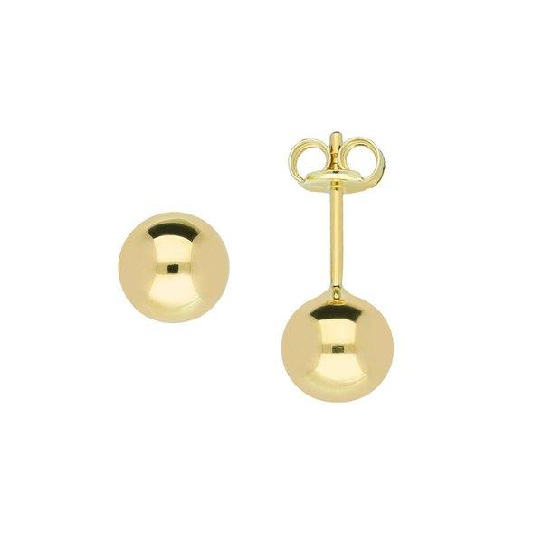 Gouden boloorknopjes - glad - 6.0 mm