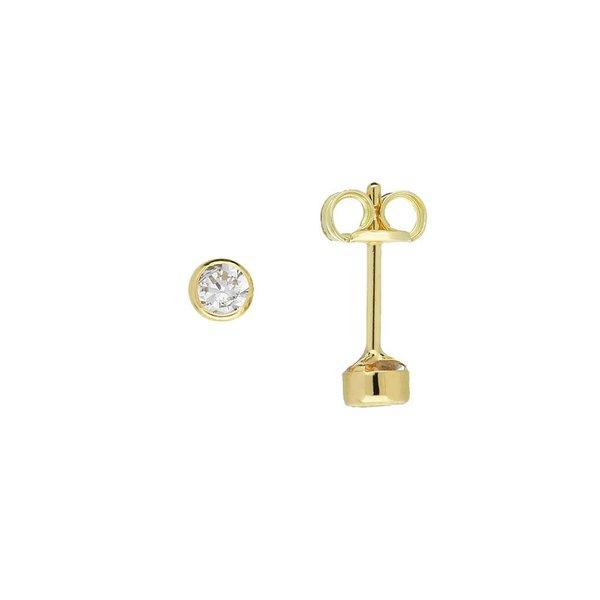 Gouden solitair oorknoppen - 3.0 mm - zirkonia