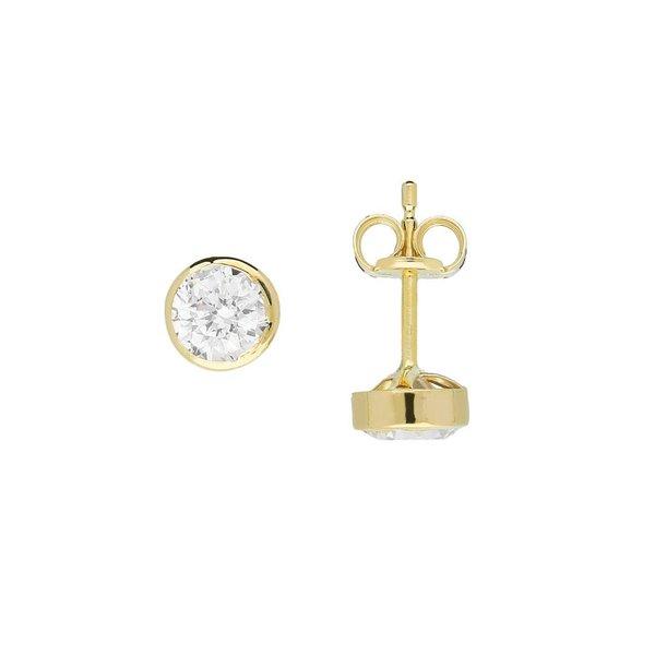 Gouden solitair oorknoppen - 5.0 mm - zirkonia