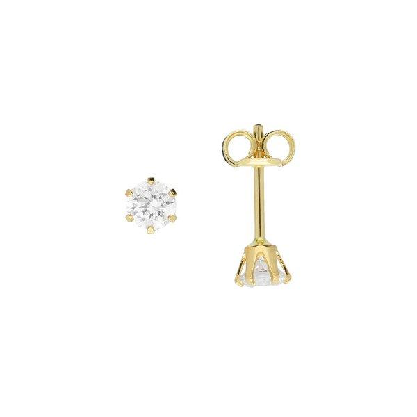 Gouden solitair oorknoppen - 4.0 mm - zirkonia