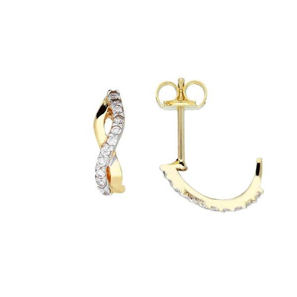 Gouden creolen met steker - zirkonia - s-vorm