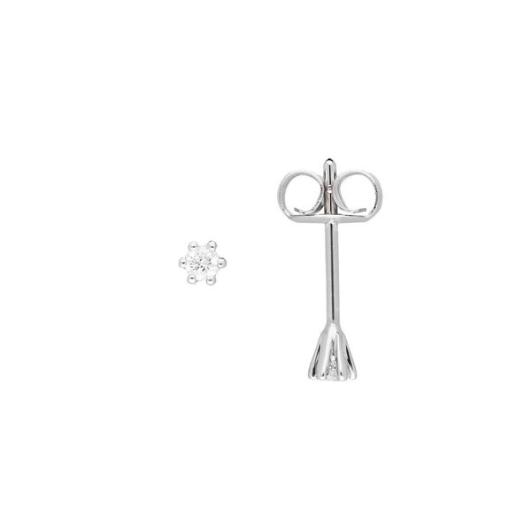 Witgouden solitair oorknoppen - diamant -2-0.06ct