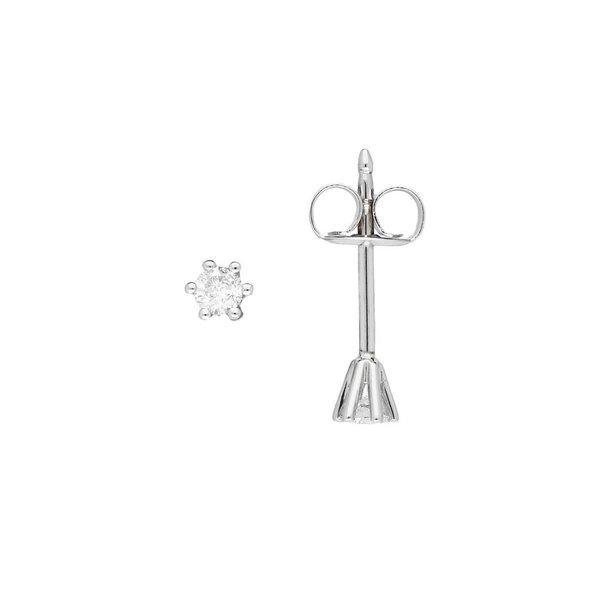 Witgouden solitair oorknoppen - diamant