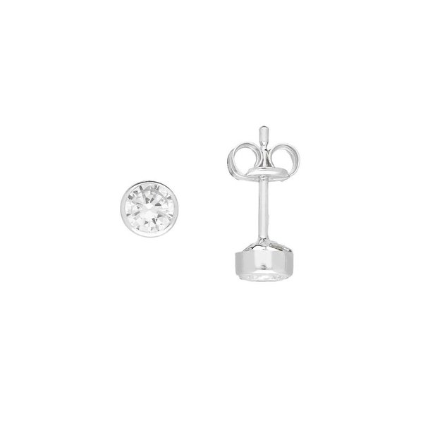 Witgouden solitaire oorknopjes - 4.0 mm - zirkonia