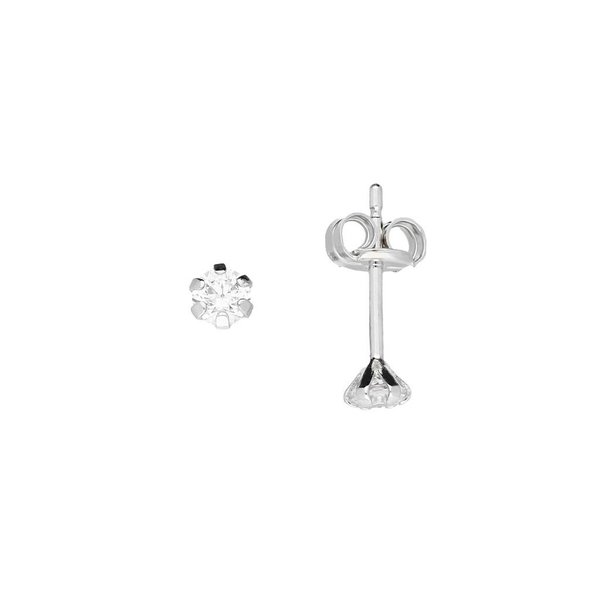 Witgouden solitaire oorknopjes - 3.0 mm - zirkonia