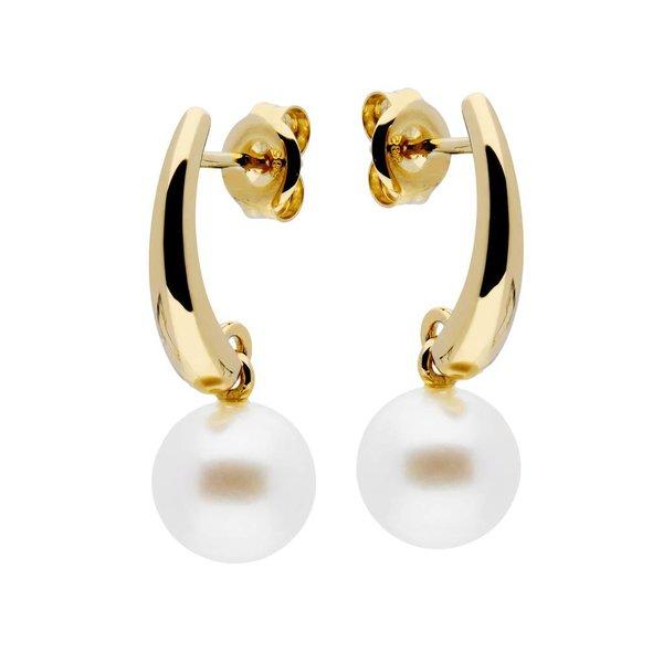 Gouden oorknoppen - zoetwaterparel  -  8.5 mm