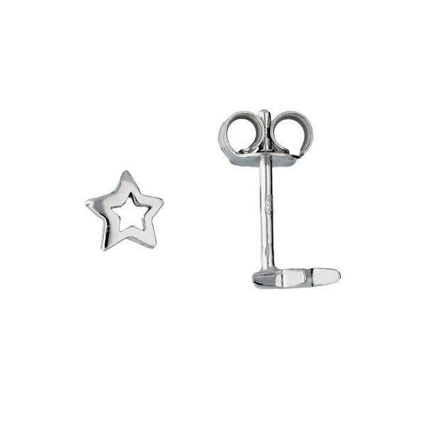 Zilveren kinderoorknopjes - open ster - rodium
