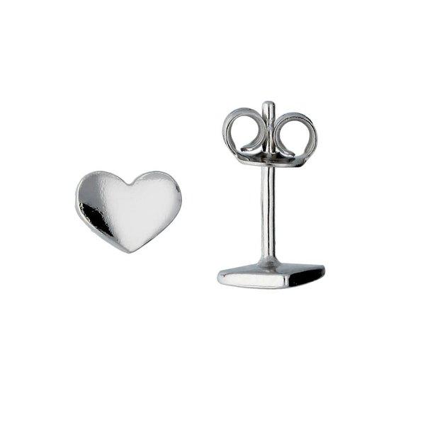 Zilveren kinderoorknopjes -  hart - rodium