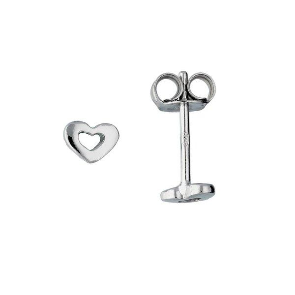 Zilveren kinderoorknopjes - open hart - rodium