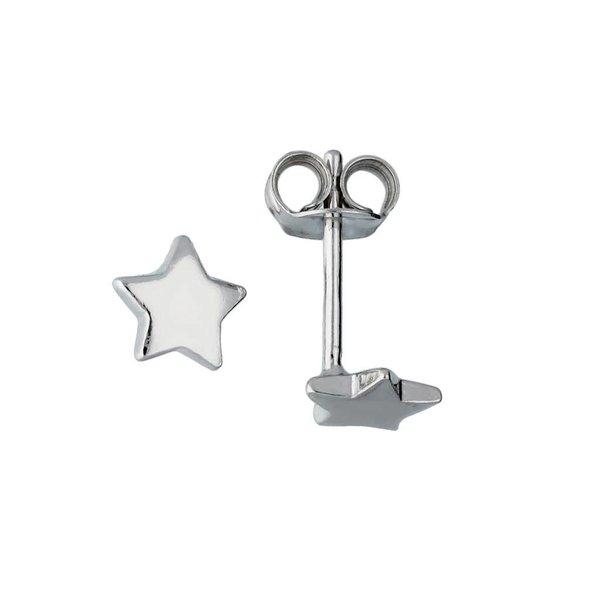 Zilveren kinderoorknopjes - ster - rodium
