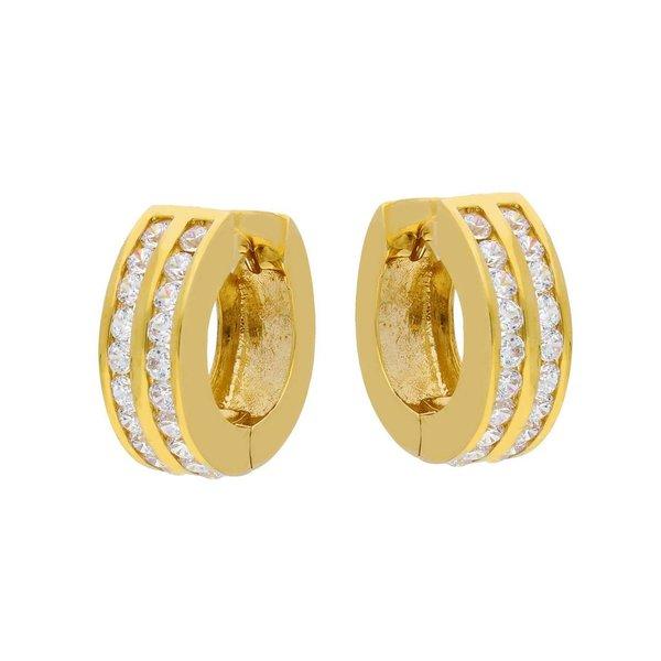 Gouden klapcreolen - dubbele rij zirkonia - 15 mm