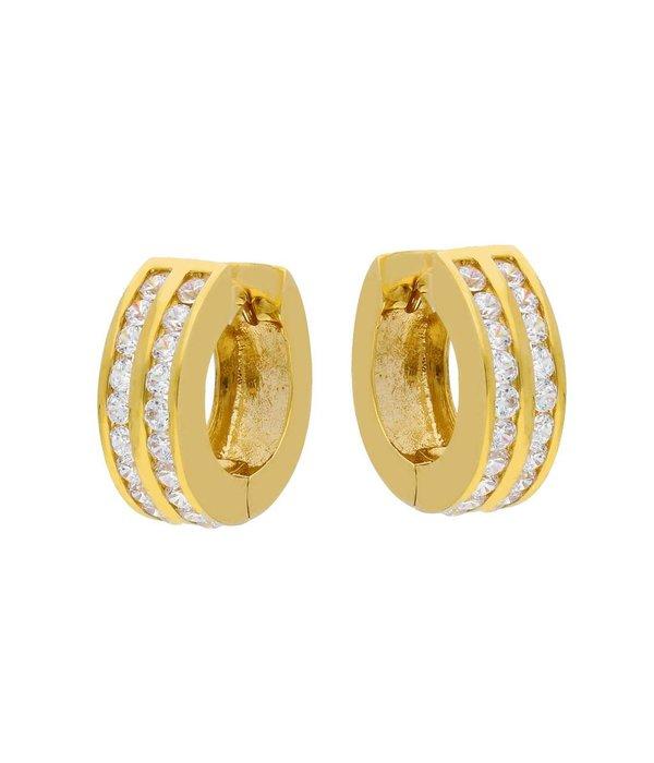 Glow Gouden klapcreolen - dubbele rij zirkonia - 15 mm - Glanzend