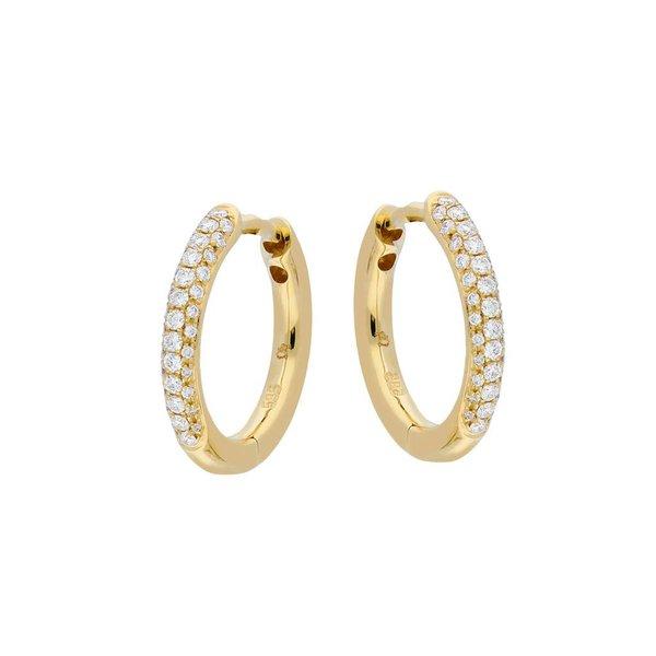 Gouden klapcreolen - diamant - pavé - 74-0.23ct
