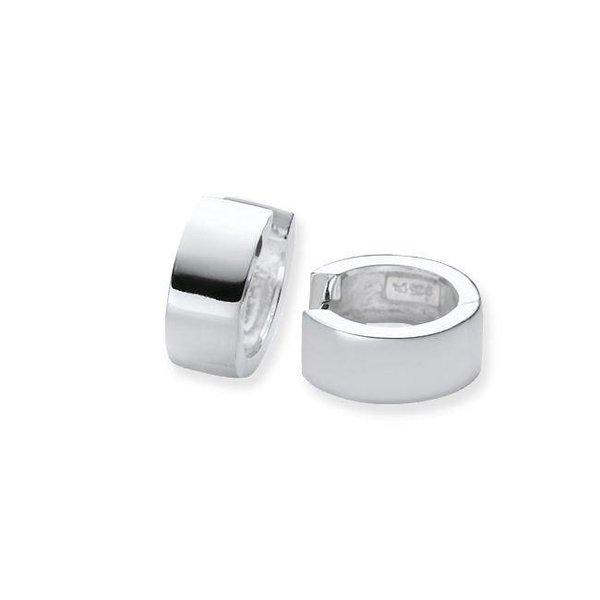 Zilveren klapcreolen - glanzend