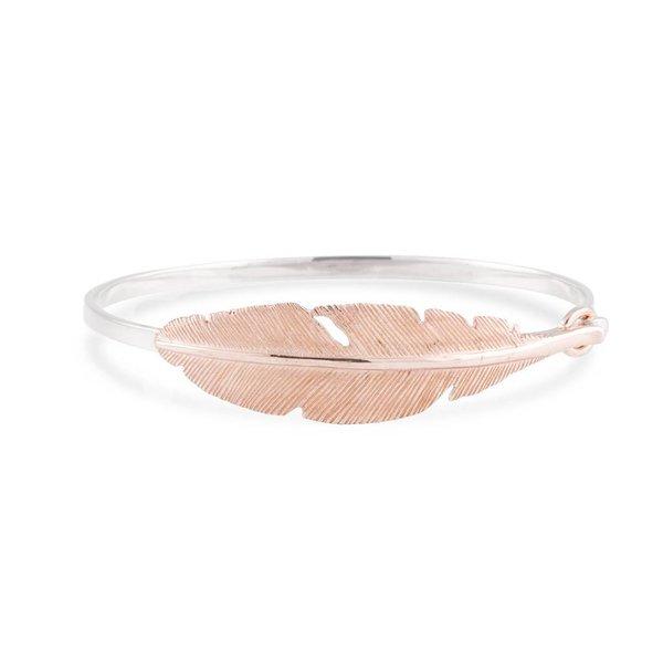 Zilveren klemarmband - rosé-plated veer - 60 mm