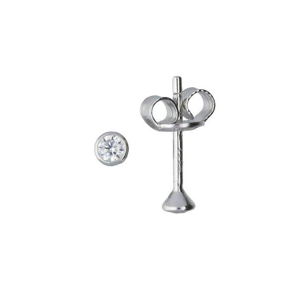 Zilveren solitair oorknoppen - zirkonia - 2.5 mm