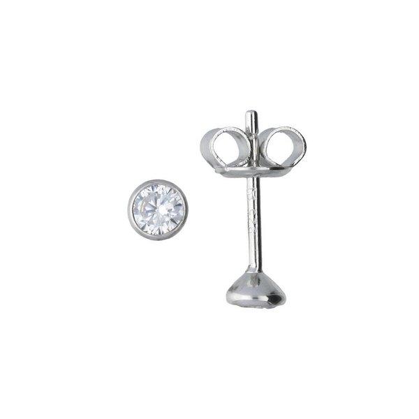Zilveren solitair oorknoppen - zirkonia - 3.5 mm