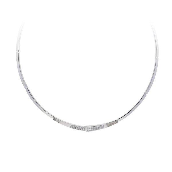 Zilveren choker - mat glanzend - zirkonia
