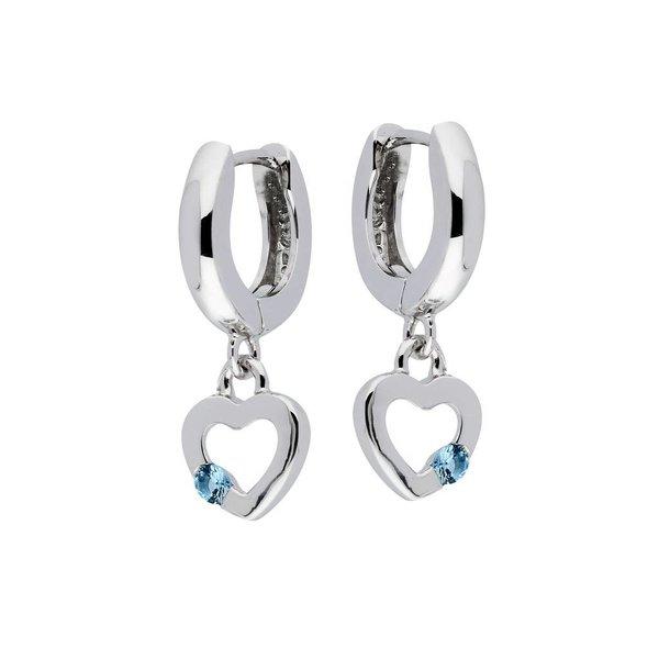 Zilveren klapcreolen - hart met blauwe zirkonia