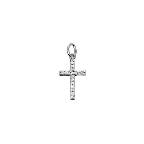 Zilveren kruisje - zirkonia